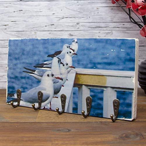 elbPLANKE® Schlüsselbrett - Möwen 24x12 cm - Hakenleiste für Schlüssel und Schmuck als Garderobe oder Handtuchhalter zum Dekorieren für Zuhause/Geschenk-Idee mit 5 antiken Haken