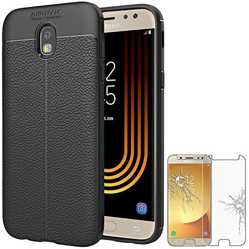 ebestStar - Funda Compatible con Samsung J7 2017 Galaxy SM-J730F Carcasa Silicona Gel, Protección Diseño Cuero Ultra Slim Case, Negro + Cristal Templado [Aparato: 152.4 x 74.7 x 7.9mm, 5.5'']