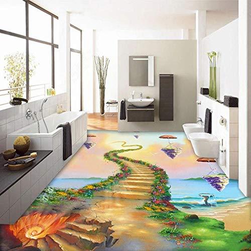 suelo 3d personalizado etiqueta de la suelo Custom Any Size Floor Mural 3D Creative Seaside Ladder Pintura al óleo Papel tapiz para el piso Sala de estar Autoadhesivo Impermeable Sticker-350 * 245cm