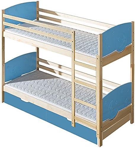 Kinderbett   Etagenbett Milo 31 inkl. 2 Schubladen, Farbe  Natur   Blau Mond und Sterne, teilmassiv, Liegefl e  80 x 190cm   (B x L), teilbar