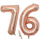 Globos numeros 76 años, Number globo número 76 oro rosa para niña Mujeres Chica, 40' Figuras Decor globo de lámina de helio inflable, gigante grande decoración fiesta de cumpleaños boda (xxxl 100cm)
