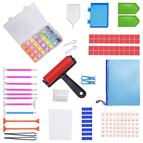INTLMATE 99 PCS 5D Diamond Painting Accessories and Tools Kits,Storage Box Cross Sticky Clay Roller for Valentine Day Craft, Tray Kits and Fix Tool Embroidery Diamond Painting