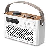 Inscabin M60 Tragbarer DAB/DAB + FM-Digitalradio/Tragbarer drahtloser Lautsprecher mit Bluetooth/Stereo-Sound/Doppellautsprecher/Doppelwecker/Subwoofer/Akku/Schönes Design (Weiß)