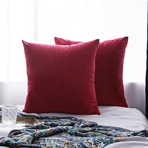 Miwaimao 26Colors almohada buque terciopelo funda de asiento de la sala de estar sofá almohadilla conjunto de color sólido funda de almohada almohada de coche de 450mm*450mm, 9