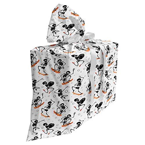 ABAKUHAUS Squelette Sac Cadeau pour Fête Prénatale, Effrayant sur Planche à roulettes, Pochette en Tissu Réutilisable de Fête avec 3 Rubans, 70 x 80 cm, Gris Anthracite Blanc