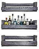 SHaBBY ViNTaGe PaLeTTeNReGaL (HxLxT: 23x8ox9cm) shabby grau aus Echtholz ideal auch als Weinregal, Wandbar oder Gewürzregal