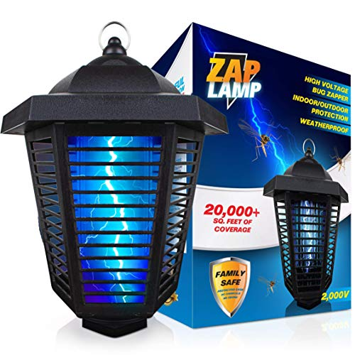 Livin' Well Zap Lamp Bug Zapper - 2000V High Powered Electric Mosquito Killer and Insect Zapper Trap with 20,000+ Sq. Feet Range and 20W UV Mosquito Lamp Bulb