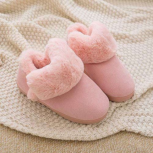 Flip Flop-GQ Winter Hausschuhe für Männer und Frauen rutschfeste Bootie Hausschuhe Memory Foam Indoor & Outdoor Plüsch Futter Schuhe mit Rutschfester Sohle-Pink_44-45