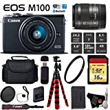 Canon EOS M100 Mirrorless Digital Camera (Black) with 15-45mm Lens + Flexible Tripod + UV Protection Filter + Professional Case + Card Reader - International Version