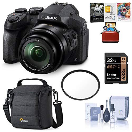 Panasonic Lumix DMC-FZ300 Digital Camera, 12.1 Megapixel, 1/2.3-inch Sensor, 4K Video, Splash/Dustproof Body, 24X Zoom Lens F2.8 Bundle with Bag, 32GB SD Card, Mac Software Pack, Filter, Cleaning Kit