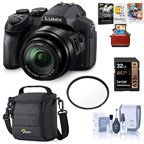 Panasonic Lumix DMC-FZ300 Digital Camera, 12.1 Megapixel, 1/2.3-inch Sensor, 4K Video, Splash/Dustproof Body, 24X Zoom Lens F2.8 Bundle with Bag, 32GB SD Card, Mac Software Pack, Filter, Cleaning Kit