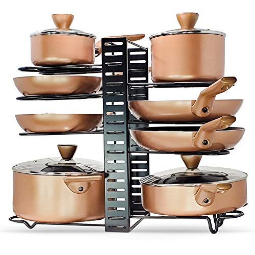 Heavy Duty Pan Rack Organizer for Cabinet - Pot and Lid Organizer for Cabinet - 3 DIY Method Adjustable 8 Rack System - Eco-Friendly Pan and Pot Organizer by LMK