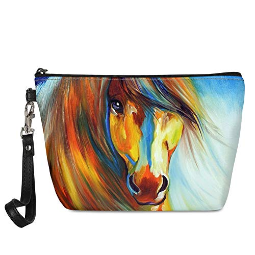 ZFRXIGN Mini Makeup Bag with Oil Painting Horse Design Travel Toiletry Pouch Best for Kids Girls Women Gift Waterproof Travel Accessories Cosmetic Bags