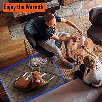 Coussin Auto-Chauffant pour Chat & Chien, Grande Taille 90x60cm, sans électricité & Batteries, Tapis Couverture Thermique Lavable Anti-dérapant Etanche Innovant écologique Self Heating Pad, Café