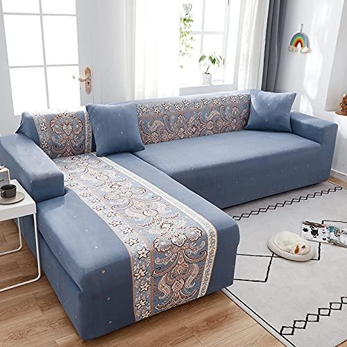 Funda elástica para sofá elástica seccional para sofá para Sala de Estar, Funda para sofá en Forma de L, Funda para sillón A14, 4 plazas