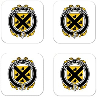 MyHeritageWear.com Purcell Family Crest Square Coasters Coat of Arms Coasters - Set of 4