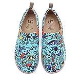 UIN Damen Blue Ocean Gemalte Canvas Loafer Schuhe Blau (42)