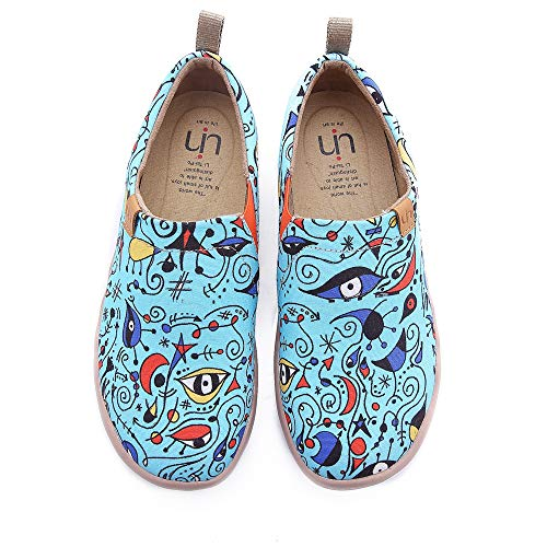 UIN Women's Blue Ocean Painted Canvas Loafer Shoes Blue (6.5)