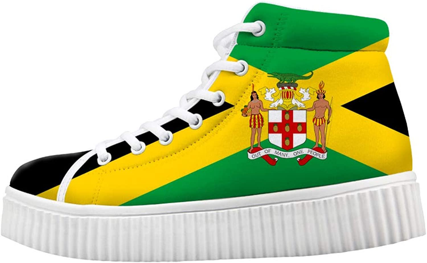 Owaheson Platform Lace up Sneaker Casual Chunky Walking shoes High Top Women Jamaica Flag