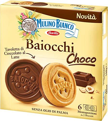 Mulino Bianco Biscotti Baiocchi Choco, Biscotto di Pastafrolla e Tavoletta di Cioccolato al Latte con Nocciole, Ottimi come Snack, 144 gr