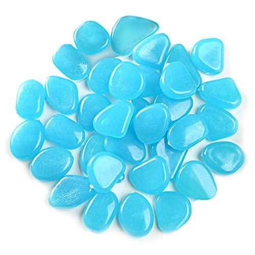 No branded Elinala Leuchtsteine, Leuchtkiesel, 200 PCS KÜNstliche Kieselsteine Leuchten im Dunkeln für Außen-, Gartenhof-, Gehweg- und Aquariumdekoration (Blau)