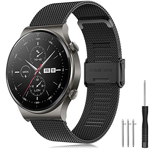 Armband Huawei Watch GT2 Pro 46mm/Watch GT 46mm/Watch GT Active/Watch 2 Pro/Honor Watch Magic Armband Edelstahl Uhrenarmband 22mm Ersatzarmband für Galaxy Watch 3 45mm/Galaxy Watch 46mm/Gear S3