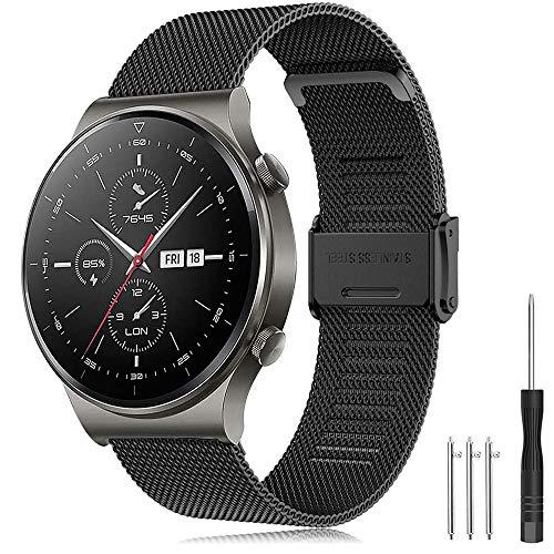 Correa Huawei Watch GT 2 Pro 46mm/Galaxy Watch 3 45mm/Galaxy Watch 46mm/Gear S3 Banda de Acero Inoxidable 22mm Pulsera para Huawei Watch GT 2 46mm/Watch GT Active/Forerunner 745/Vivoactive 4