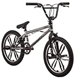 Mongoose Legion Mag Freestyle Sidewalk BMX Bike for Kids, Children and Beginner-Level to Advanced Riders, 20-inch Wheels, Hi-Ten Steel Frame, Micro Drive 25x9T BMX Gearing, Silver