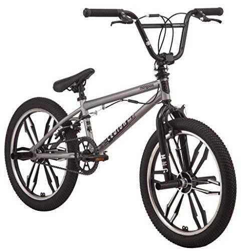 Mongoose Legion Mag Freestyle Sidewalk BMX Bike for Kids, Children and Beginner-Level to Advanced Riders, 20-inch Wheels, Hi-Ten Steel Frame, Micro Drive 25x9T BMX Gearing, Silver