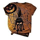 Camiseta vintage para mujer, de Halloween, con estampado de animales, cuello redondo, manga corta, ligera, transpirable, tallas S-3XL, Amarillo 02., S