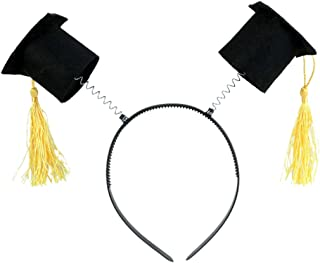Black Graduation Cap with Gold Tassels Party Headband Bopper