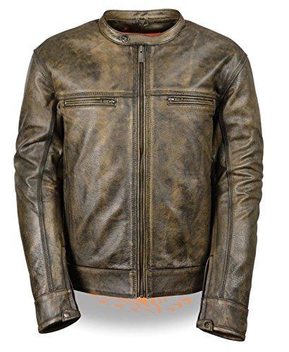 Herren Motorrad-Distressed Braun Sportliche Scooter Leder Jacke W/2Gun Taschen Regular)