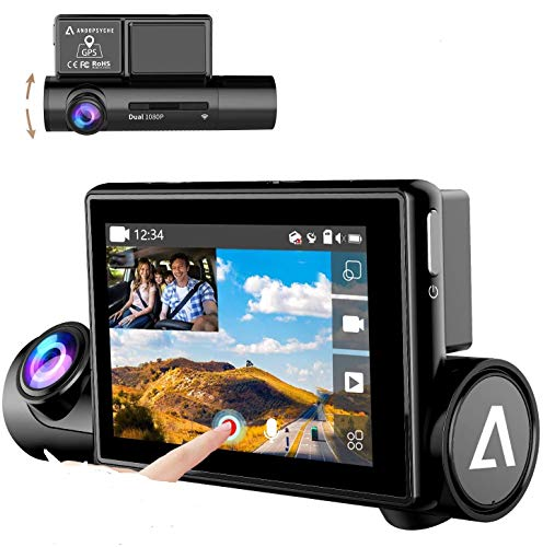 """Dash Cam with Sony Super Night Vision Sensor Inside, 170° Wide Angle, 3.0"""" OLED Dual 1080P FHD Touch Screen, Front & Interior Dash Camera for Car, WiFi GPS Car Driving Recorder WDR G-Sensor Anoopsyche"""