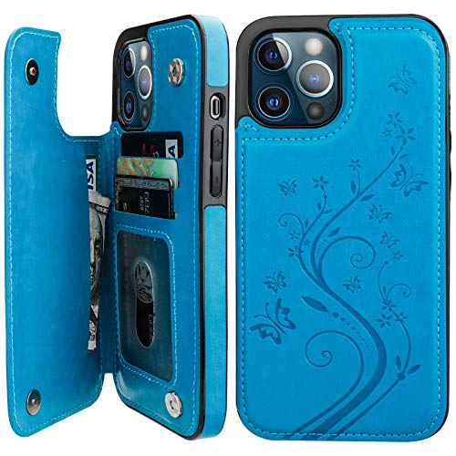 Vaburs Compatible with iPhone 12 Pro Max Case Wallet with Card Holder,Embossed Butterfly Pattern PU Leather Double Magnetic Buttons Flip Shockproof Cover for iPhone 12 Pro Max 6.7 Inch(Blue)