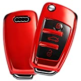 Key Fob Cover Case, Premium Soft TPU Funda Protectora de 360 Grados con Carcasa Completa Compatible con Audi 2018 2019 2020 A3, Q3, Q2L, A1, S3 (Rojo)