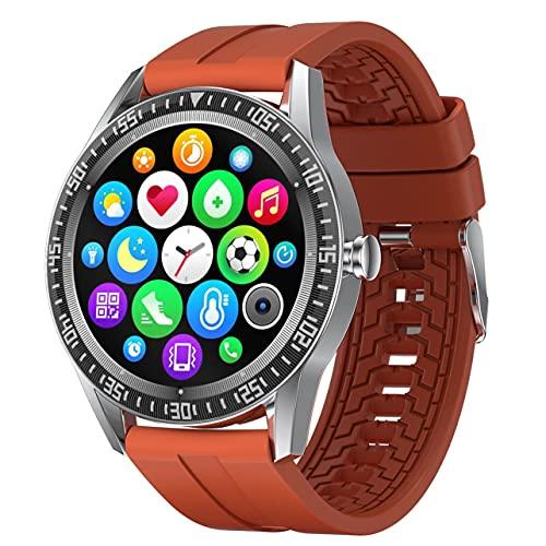 MARSPOWER N70 Smart Watch 1.28'Pantalla Redonda Smartwatch Monitor de Actividad con recordatorios de Llamadas IP67 Reloj Deportivo con Pulsera Inteligente a Prueba de Agua - Naranja