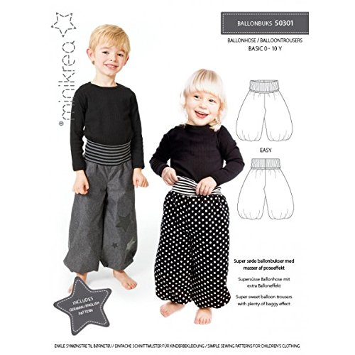 MAGAM-Stoffe Ballon Hose Schnittmuster Babys und Kinder inkl. Aufnäher Enno