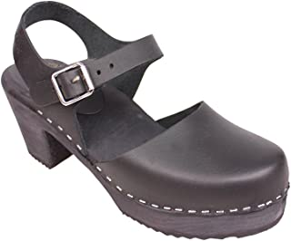 Swedish Clogs : Highwood Mary Jane Style in Black Leather