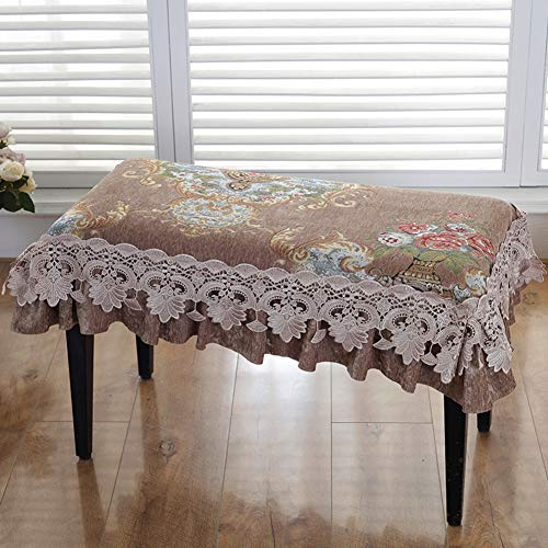 GGYDD Lace Piano Stool Cushion,not-Slip Bench Cover,Square Stool Pad Chair Cover Long Stool Mats Decorated with Macrame-n 78x38cm(31x15inch)
