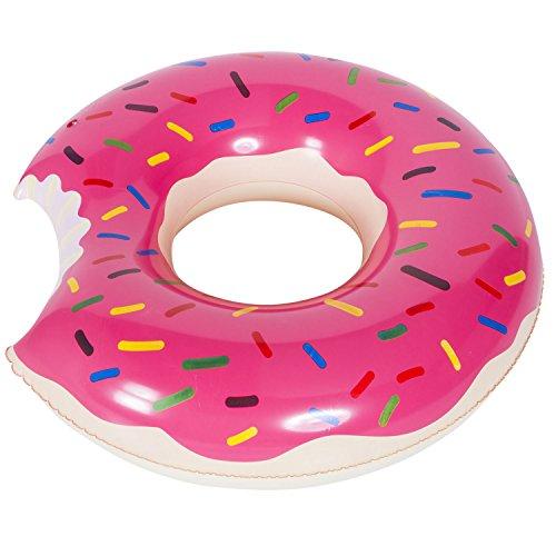 GOODS+GADGETS Aufblasbarer Donut Schwimmreifen; Schwimmring für Pool-Partys, Luftmatratze für Strandurlaub und Bade-Abenteuer (Pink, Ø 100 cm)
