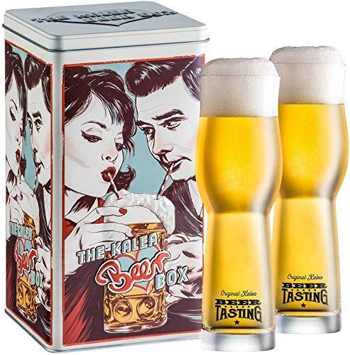 Kalea Beer Box   Metallbox mit 3D-Prägung   4 X 0.33 L Bierspezialitäten   Inkl. 2 Verkostungsgläser (Edition Drinking Couple)