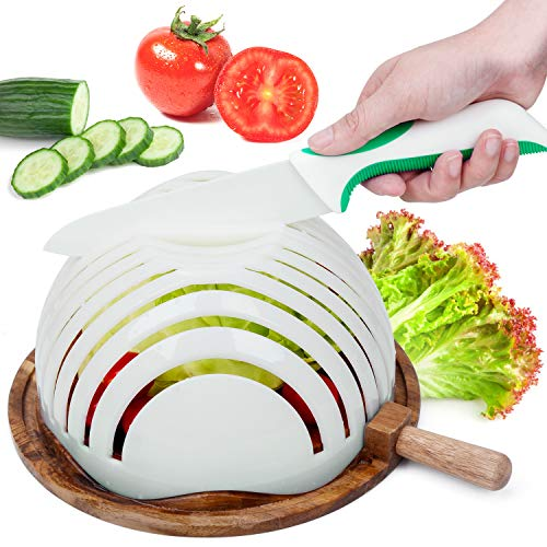 Himetsuya Salad Cutter Bowl Easy Salad Maker Upgraded Wooden Base Salad Chopper Bowl Set for Salad Fruit Vegetable Slicer