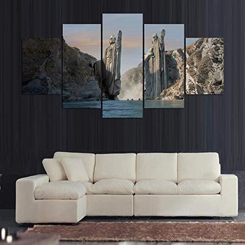 5 paneles El señor de los anillos Las puertas de Argonath de Gondor Anduin Hd Pintura de lienzo de primera calidad Pintura Decoración del hogar(size)