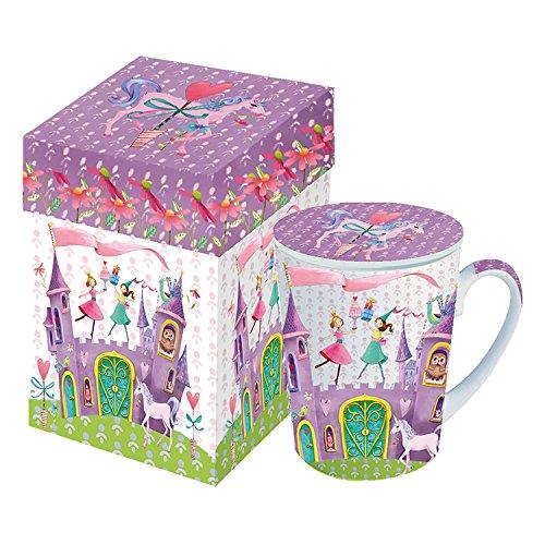 PPD Princess Castle Henkelbecher mit Deckel, Kaffeebecher, Kaffee Tasse, Porzellan, Bunt, 250 ml, 602507