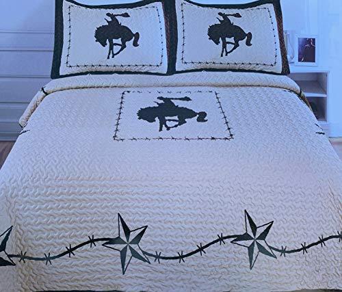 Sapphire Home 3-teiliges Bettwäscheset für King-Size-Betten, mit 2 Kissenbezügen, Wildpferd, Hufeisen, Barbwire, Stern, Cowboy-Motiv, Beige / Kaffeebraun
