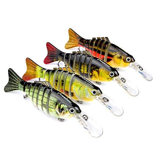 MKNZOME 1 juego de señuelos de pesca con múltiples articulaciones, estilo bionico, cebo duro de hundimiento lento para perchtrucha, lubina, lucio, muskie