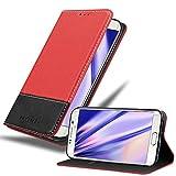 Cadorabo Funda Libro para Samsung Galaxy S6 Edge en Rojo Negro - Cubierta Proteccíon con Cierre Magnético, Tarjetero y Función de Suporte - Etui Case Cover Carcasa