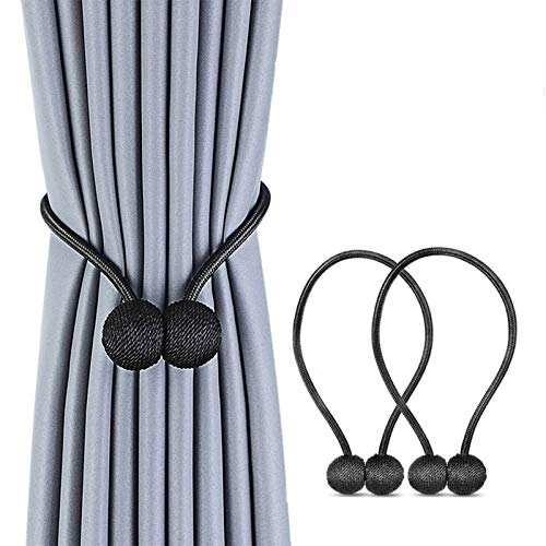 Magnetic Curtain Tiebacks, The Most Convenient Drape Tie Backs,European Style Decorative Weave Rope Curtain Holdbacks Holder for Window Sheer Blackout Drapries Office, 16 inch, 2 Pack (Black)
