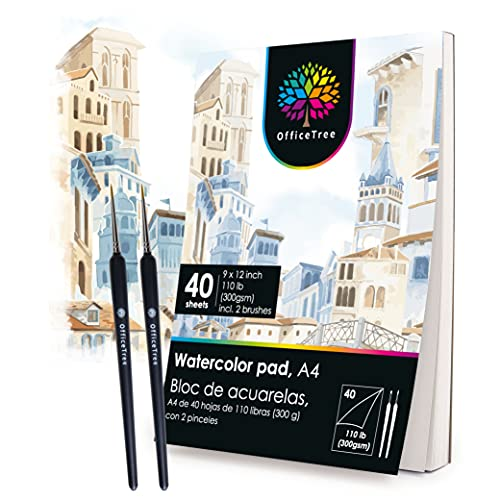 OfficeTree 40 Blatt Aquarellblock A4 300g - Aquarellpapier A4 Weiß – Zeichenblock A4 für Wasserfarben - Papier für Aquarellmalerei - 2 Pinsel gratis