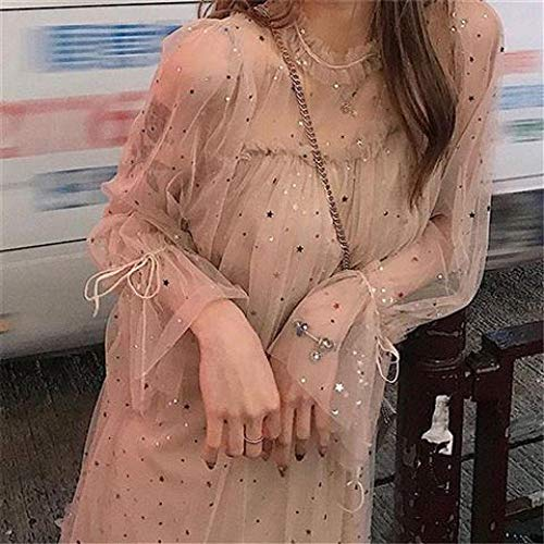 FWJSDPZ Primavera Nuevas Mujeres O-cuello Estrellas Lentejuelas Malla Brillante Vestido De Hada Mujeres Elegante Gasa Princesa Puff Vestidos (Color: Amarillo, Tamaño: S)